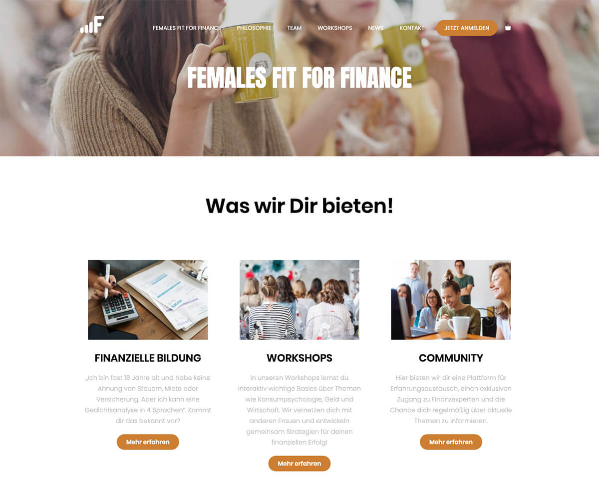 Referenz Females Fit for Finance Webseite